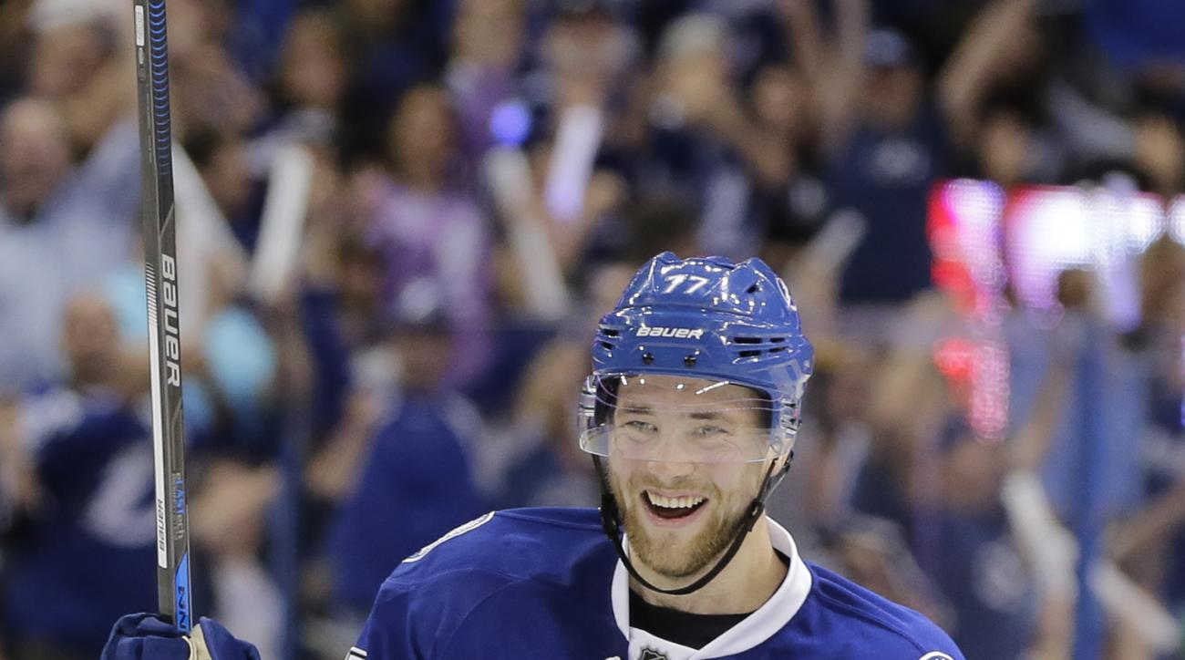 Tampa Bay Lightning defenseman Victor Hedman (77), of Sweden, celebrates his goal during the second  period of Game 2 of the NHL hockey Stanley Cup Eastern Conference semifinals against the New York Islanders, Saturday, April 30, 2016, in Tampa, Fla. (AP