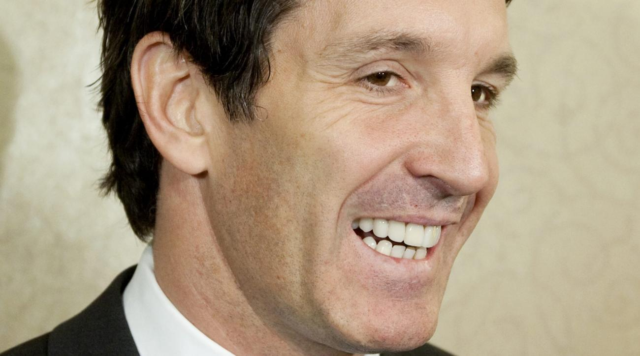 Brendan Shanahan, NHL vice president of hockey and business development, speaks to reporters during the NHL General Managers annual fall meeting in Toronto, Tuesday, Nov. 9, 2010. (AP Photo/The Canadian Press, Darren Calabrese)