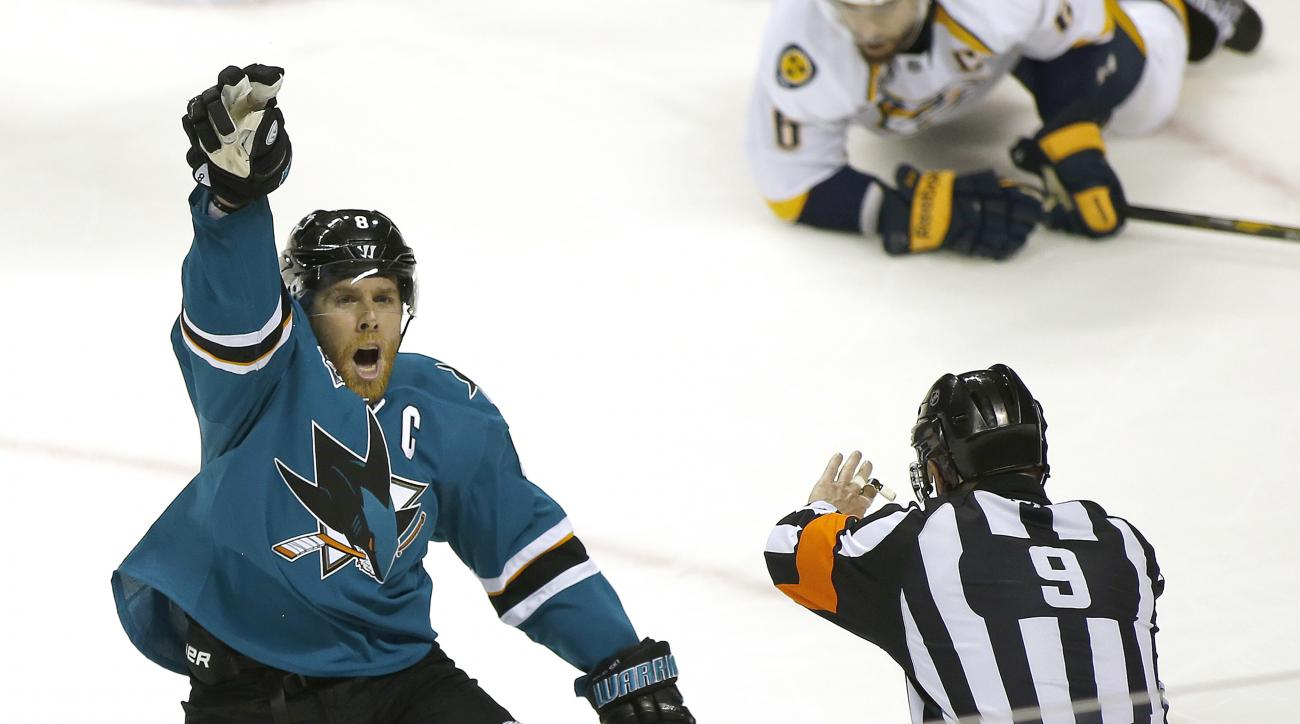 San Jose Sharks center Joe Pavelski (8) celebrates after scoring a goal against the Nashville Predators during the third period of Game 2 in an NHL hockey Western Conference semifinal series Sunday, May 1, 2016, in San Jose, Calif. Sharks won 3-2. (AP Pho