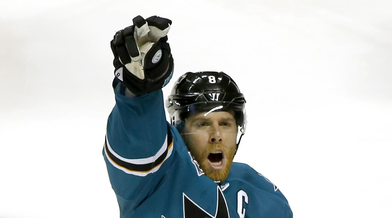 San Jose Sharks center Joe Pavelski celebrates after scoring a goal against the Nashville Predators during the third period of Game 2 in an NHL hockey Western Conference semifinal series Sunday, May 1, 2016, in San Jose, Calif. Sharks won 3-2. (AP Photo/T