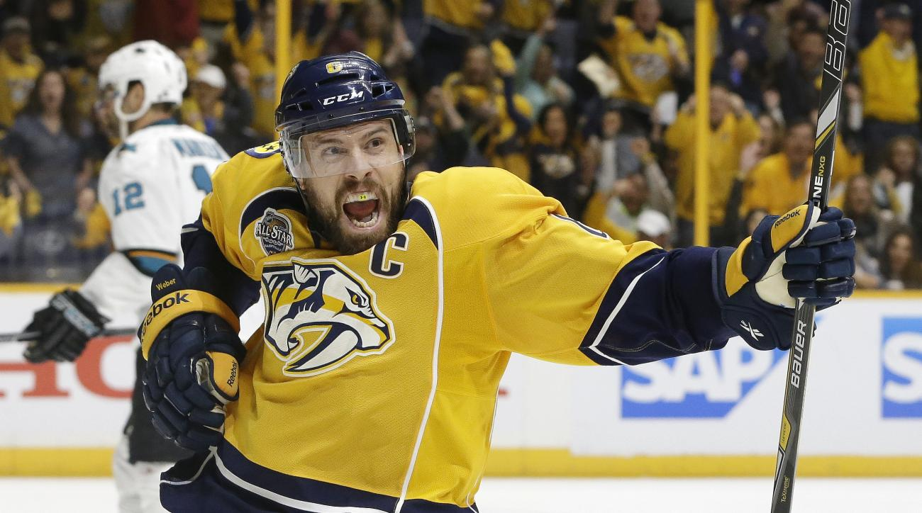 Nashville Predators defenseman Shea Weber (6) celebrates after scoring a goal against the San Jose Sharks during the second period in Game 3 of an NHL hockey Stanley Cup Western Conference semifinal playoff series Tuesday, May 3, 2016, in Nashville, Tenn.