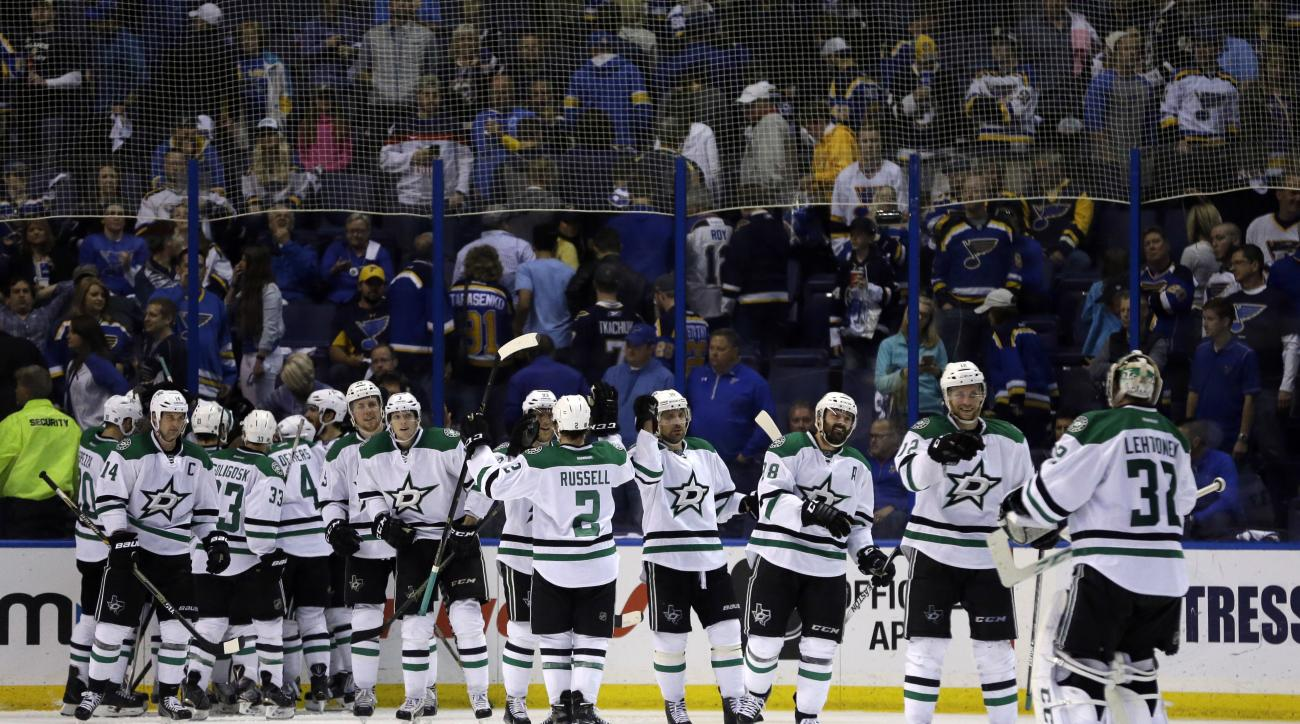 The Dallas Stars celebrate their 3-2 overtime victory over the St. Louis Blues in Game 4 of the NHL hockey Stanley Cup Western Conference semifinals, Thursday, May 5, 2016, in St. Louis. (AP Photo/Jeff Roberson)