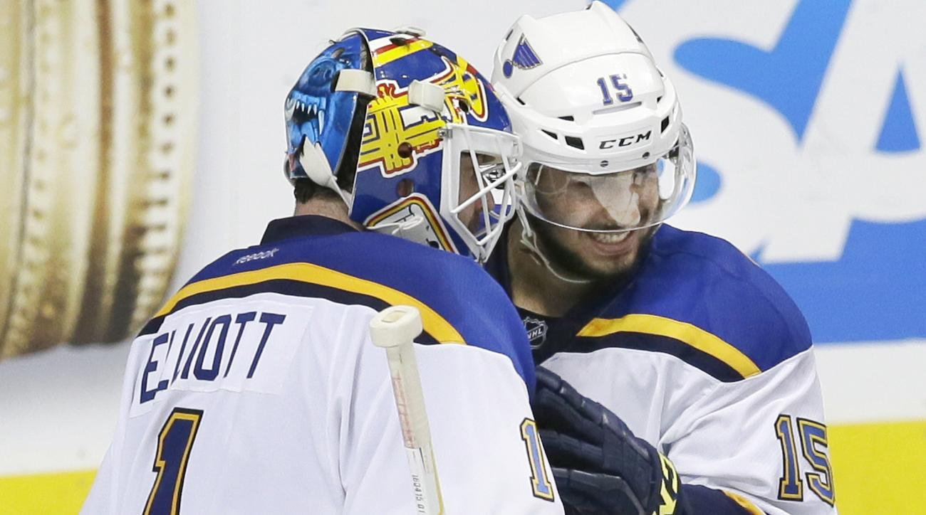 St. Louis Blues goalie Brian Elliott (1) and center Robby Fabbri (15) congratulate each other after Game 5 of the NHL hockey Stanley Cup Western Conference semifinals against the Dallas Stars, Saturday, May 7, 2016, in Dallas. (AP Photo/LM Otero)