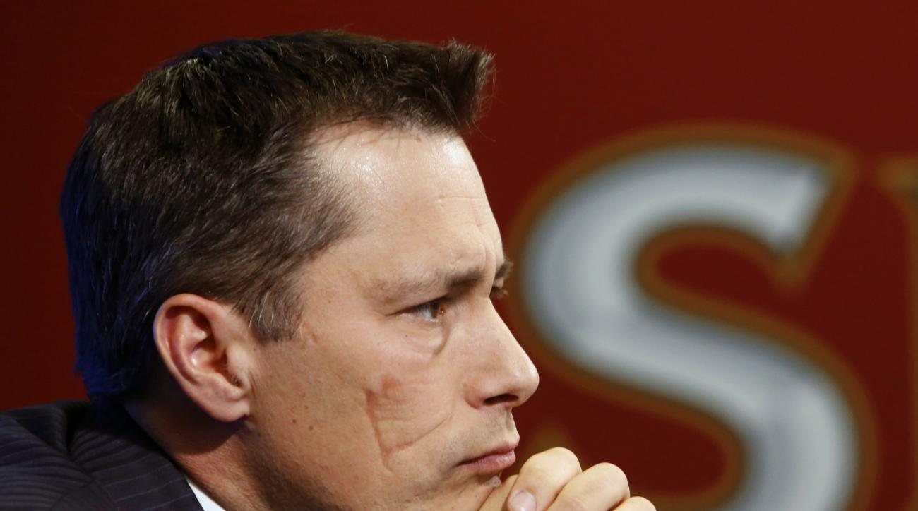 Ottawa Senators new head coach Guy Boucher listens during an NHL hockey news conference in Ottawa, Monday, May 9, 2016. The 44-year-old Boucher becomes the 12th head coach in Senators franchise history, replacing Dave Cameron who was fired on April 12. (F