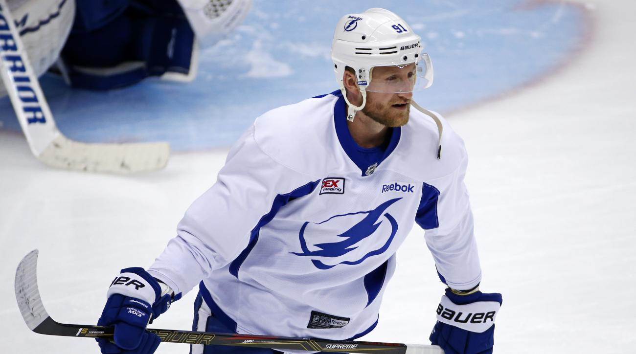 Tampa Bay Lightning's Steven Stamkos skates during hockey practice at the Consol Energy Center in Pittsburgh, Sunday May 15, 2016. The Lightning were preparing for Game 2 of the Eastern Conference Finals against the Pittsburgh Penguins on Monday in Pittsb