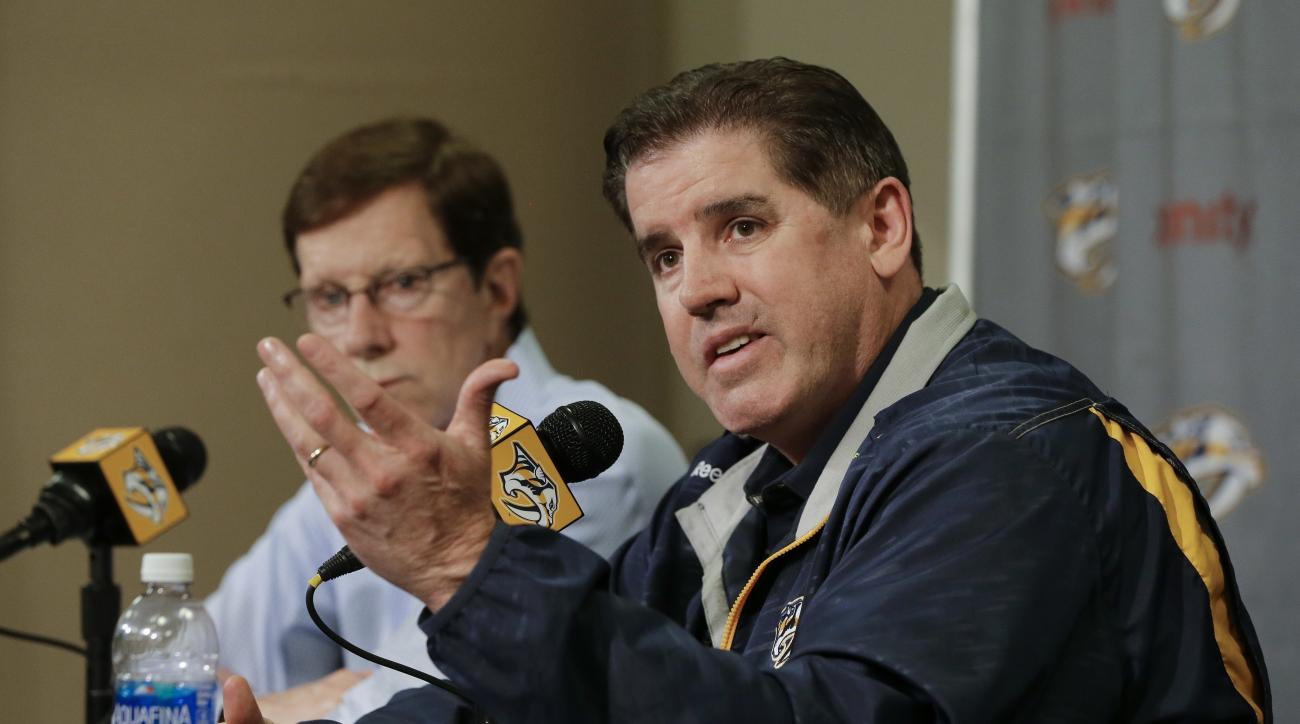 Nashville Predators head coach Peter Laviolette, right, and general manager David Poile answer questions during a news conference Wednesday, May 18, 2016, in Nashville, Tenn. The Predators' season ended after losing to San Jose in the second round of the