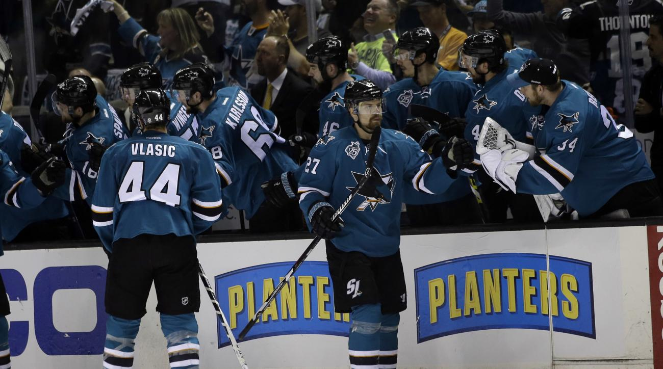 San Jose Sharks' Joonas Donskoi (27) celebrates with teammates after scoring against the St. Louis Blues during the second period in Game 3 of the NHL hockey Stanley Cup Western Conference finals Thursday, May 19, 2016, in San Jose, Calif. (AP Photo/Marci