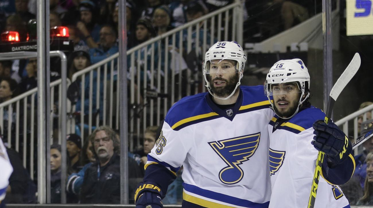 St. Louis Blues' Troy Brouwer, left, celebrates his goal with teammate Robby Fabbri during the first period in Game 4 of the NHL hockey Stanley Cup Western Conference finals against the San Jose Sharks on Saturday, May 21, 2016, in San Jose, Calif. (AP Ph