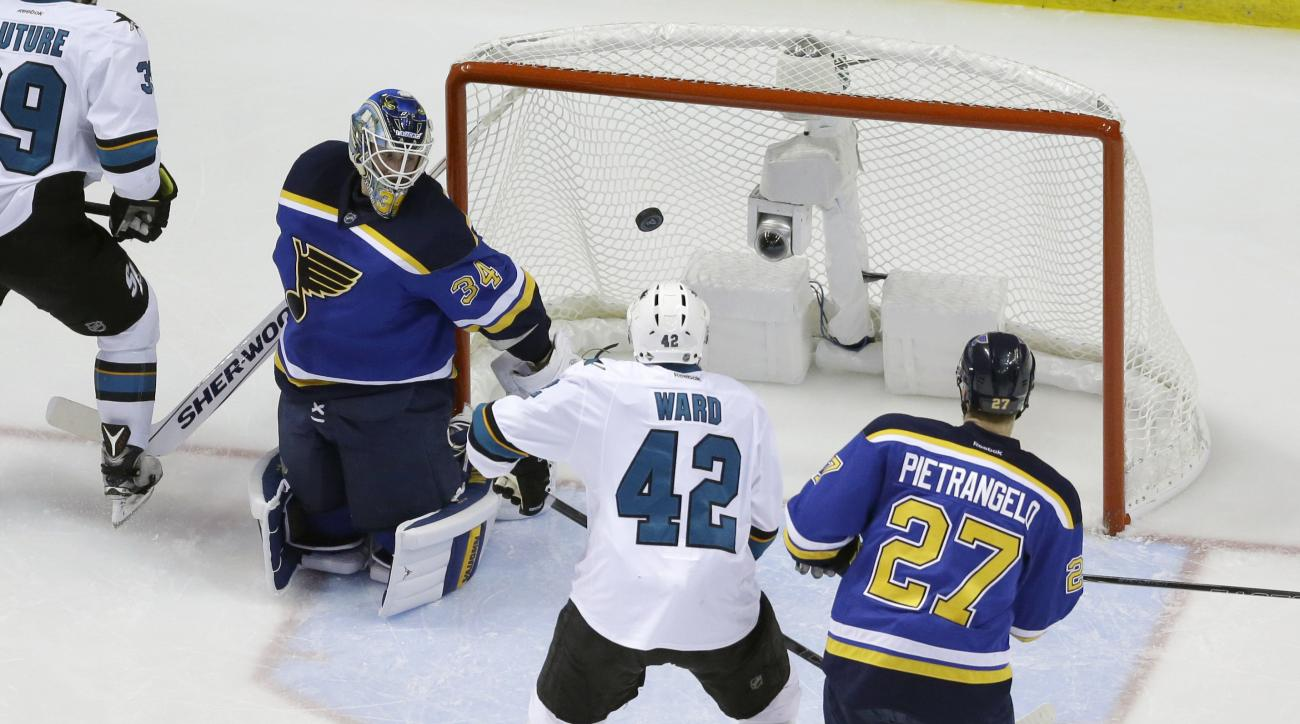 San Jose Sharks right wing Joel Ward (42)  gets the puck past St. Louis Blues goalie Jake Allen (34) for a score during the second period in Game 5 of the NHL hockey Stanley Cup Western Conference finals, Monday, May 23, 2016, in St. Louis. (AP Photo/Jeff