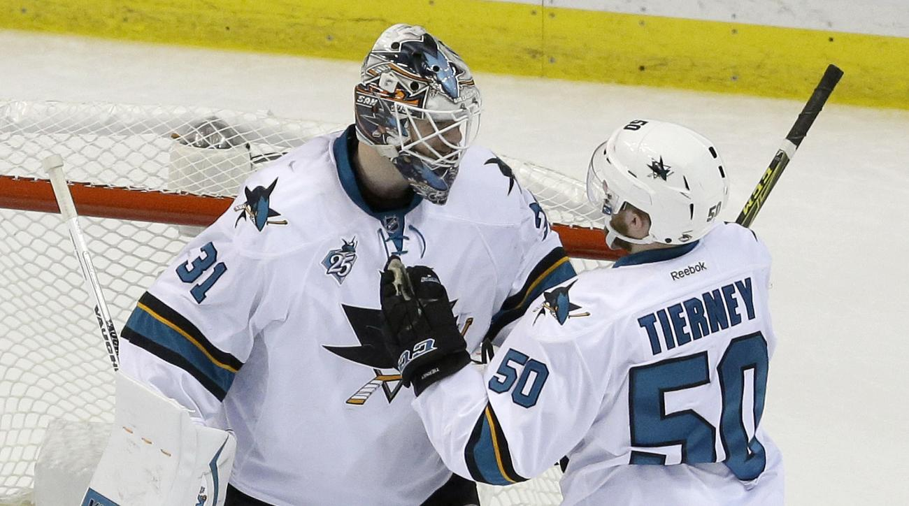 San Jose Sharks goalie Martin Jones (31) and center Chris Tierney (50) celebrate after Game 5 of the NHL hockey Stanley Cup Western Conference finals against the St. Louis Blues, Monday, May 23, 2016, in St. Louis. The Sharks won 6-3. (AP Photo/Jeff Rober