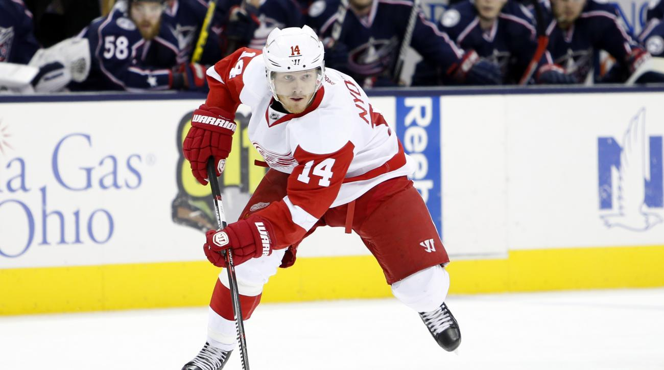 FILE - In this March 17, 2016, file photo, Detroit Red Wings' Gustav Nyquist, of Sweden, plays against the Columbus Blue Jackets during an NHL hockey game in Columbus, Ohio. A few days after Kentucky Derby winner Nyquist was declared out of the Belmont St