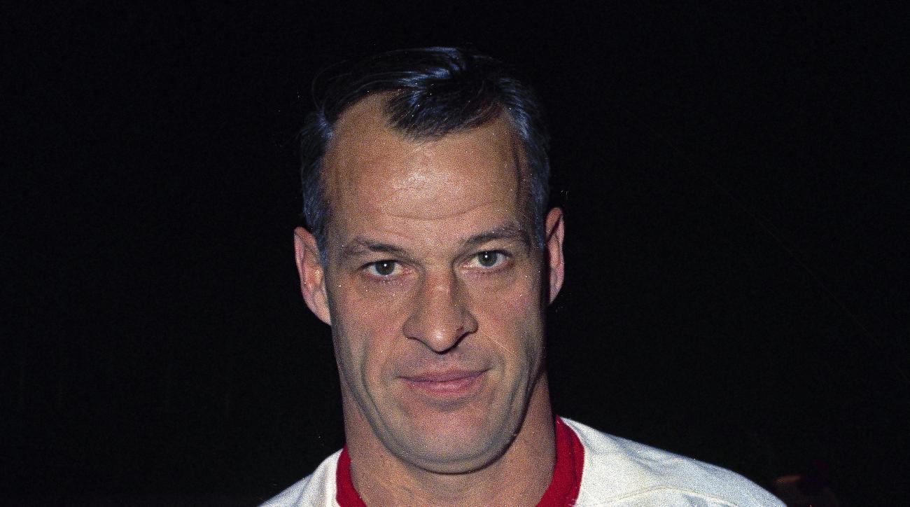 FILE - This is a Nov. 1967, file photo showing Detroit Red Wings hockey player Gordie Howe. Howe, the rough-and-tumble Canadian farm boy whose boundless blend of talent and toughness made him the NHLs quintessential star during a career that lasted into h
