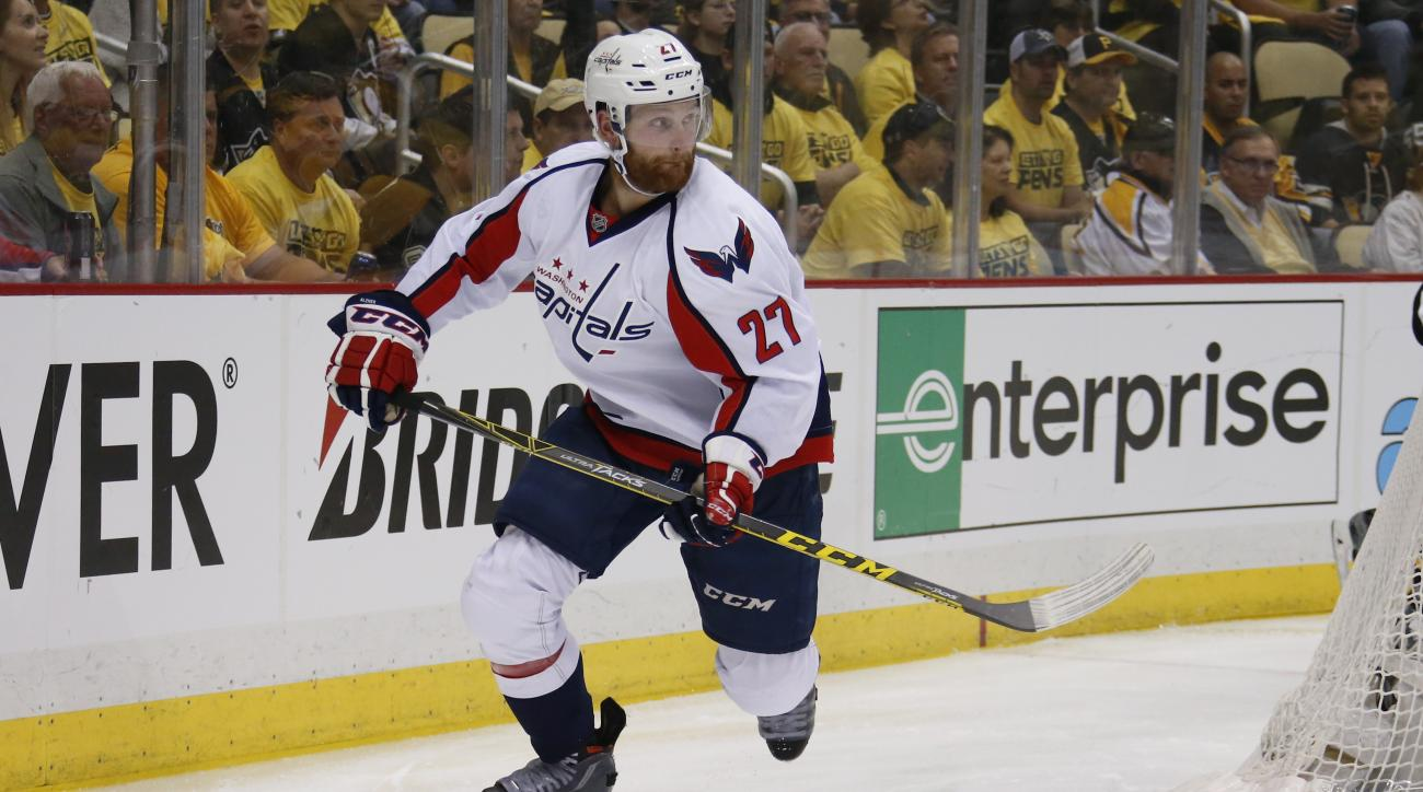 In this May 2, 2016 file photo, Washington Capitals' Karl Alzner (27) skates during the first period of Game 3 in an NHL hockey Stanley Cup Eastern Conference semifinals against the Washington Capitals in Pittsburgh. Alzner had sports hernia surgery, Wedn