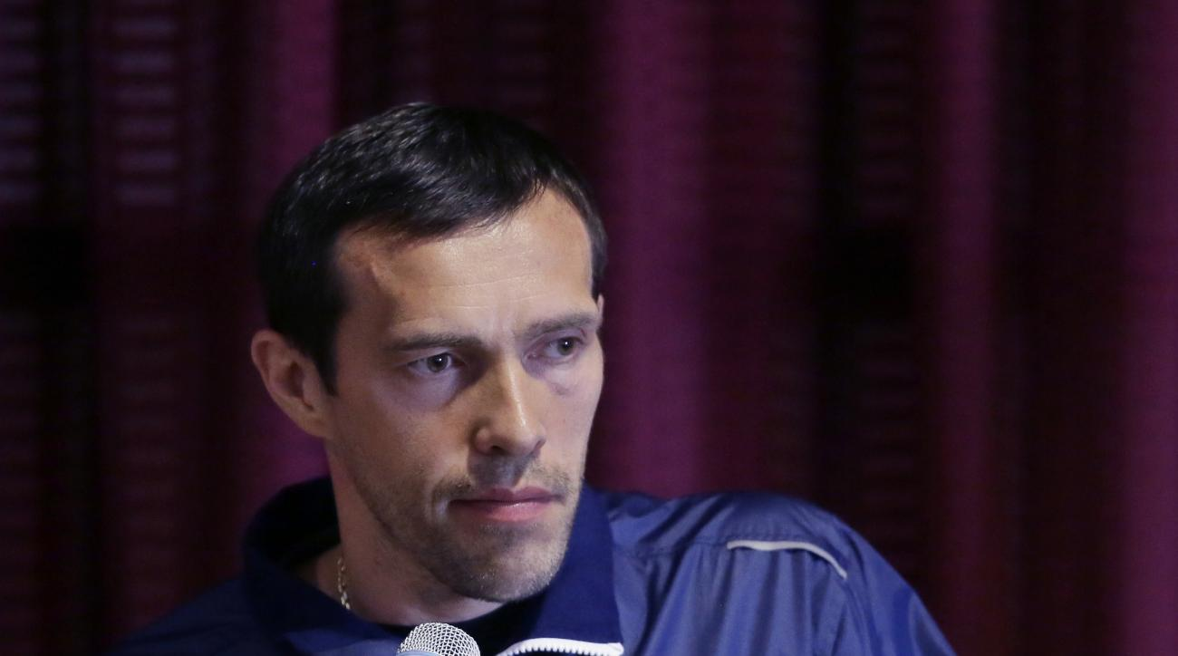 Pavel Datsyuk addresses the media about his future during a news conference, Saturday, June 18, 2016 in West Bloomfield Township, Mich. Datsyuk announced plans to leave the Detroit Red Wings with a year left on his contract to reunite with his teenage dau