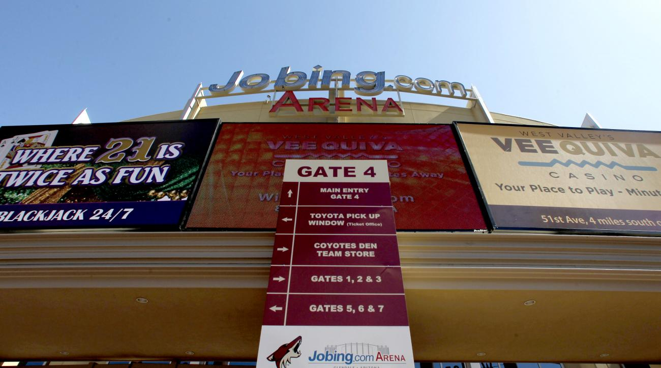 Jobing.com Arena, where the Phoenix Coyotes NHL hockey team plays home games, as shown Wednesday, June 13, 2012, in Glendale, Ariz.  The conservative watchdog group Goldwater Institute has filed a lawsuit seeking to invalidate the Glendale City Council's
