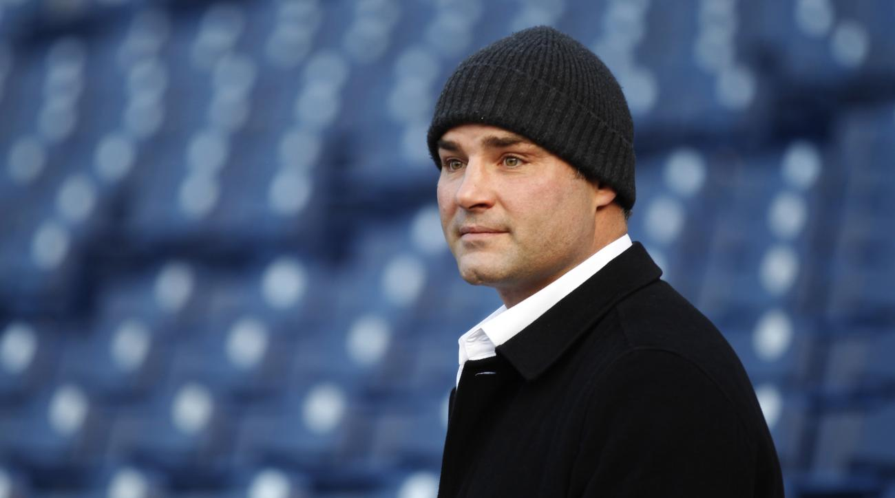 FILE - In a Friday, Dec. 30, 2011 file photo, former Philadelphia Flyers player Eric Lindros looks out from the stands at Citizens Bank Park where preparations are underway for NHL hockey's Winter Classic, in Philadelphia. The weakest first-time eligible