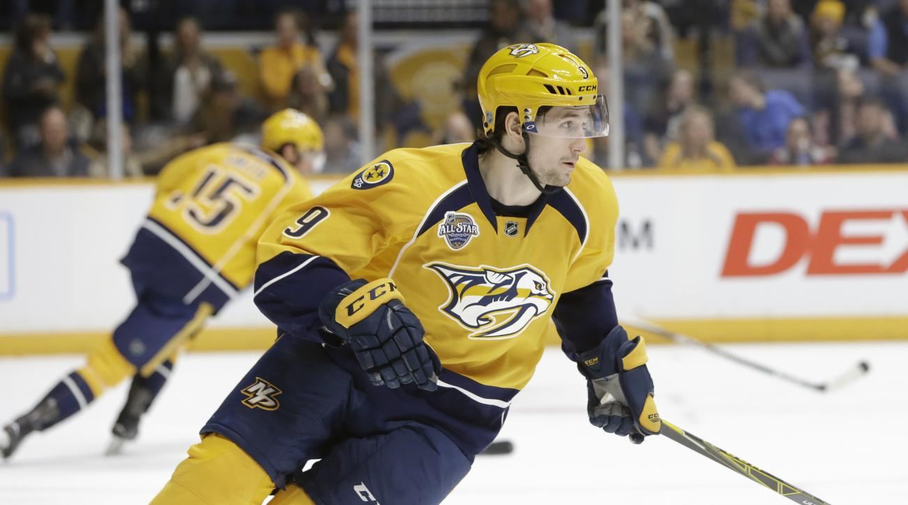 In this Feb. 20, 2016 photo, Nashville Predators center Filip Forsberg (9), of Sweden, plays against the Los Angeles Kings in an NHL hockey game in Nashville, Tenn. Forsberg, who tied the franchise record with 33 goals, is a pending restricted free agent