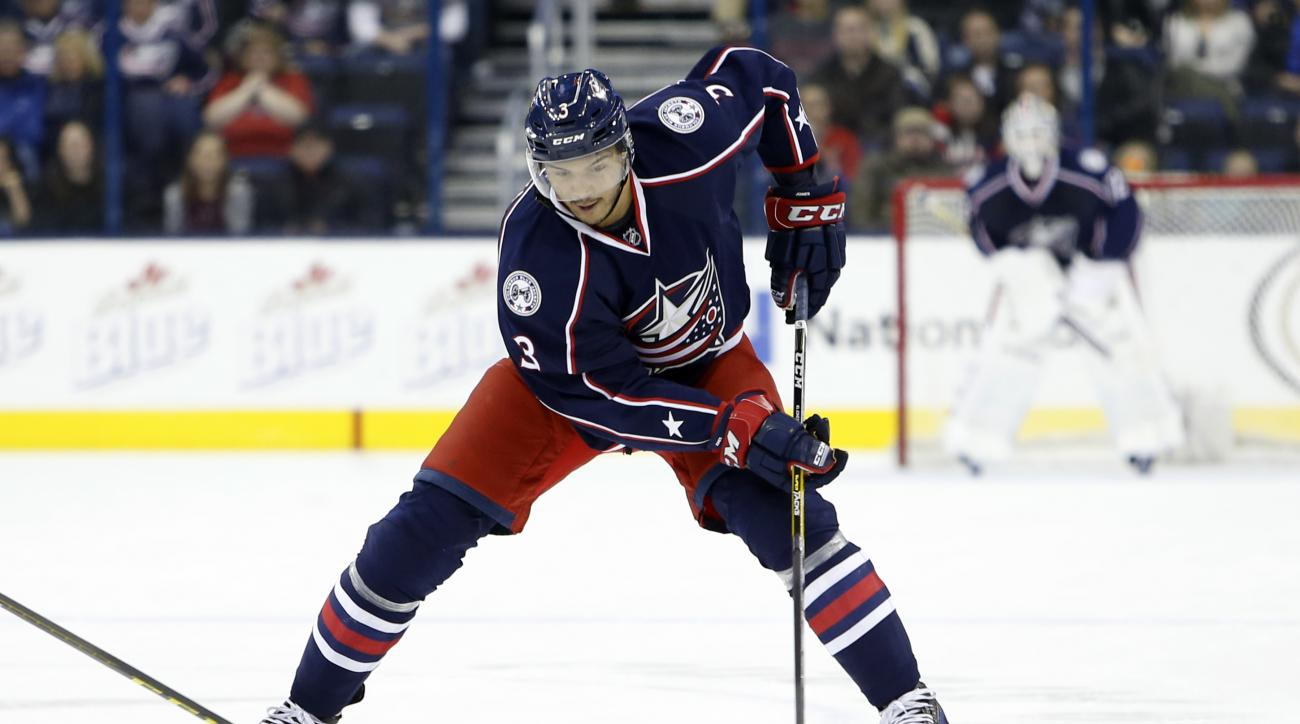 Columbus Blue Jackets' Seth Jones plays against the New Jersey Devil during an NHL hockey game Saturday, March 19, 2016, in Columbus, Ohio. (AP Photo/Jay LaPrete)