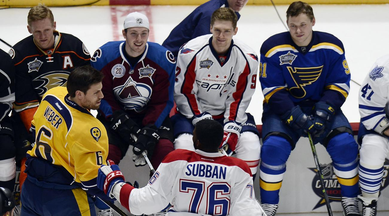 Nashville Predators defenseman Shea Weber (6) is congratulated by Montreal Canadiens defenseman P.K. Subban (76) after Weber won the hardest shot event at the NHL All-Star skills competition Saturday, Jan. 30, 2016, in Nashville, Tenn. (AP Photo/Mark Zale