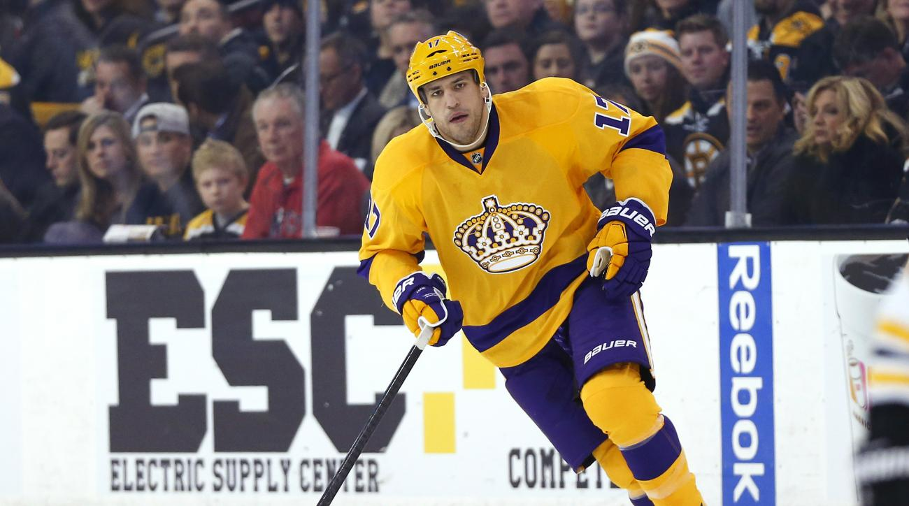 FILE- In this Feb. 9, 2016, file photo, Los Angeles Kings' Milan Lucic skates during an NHL hockey game in Boston. The New Jersey Devils have acquired former No. 1 overall draft pick Taylor Hall from the Edmonton Oilers for defenseman Adam Larsson, which