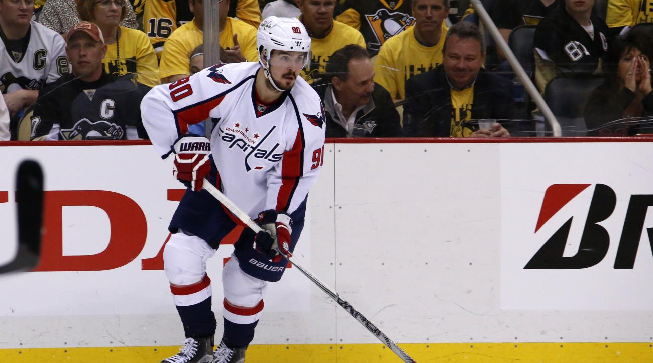 Washington Capitals' Marcus Johansson skates during Game 6 of the NHL hockey Stanley Cup Eastern Conference semifinals, against the Pittsburgh Penguins Tuesday, May 10, 2016 in Pittsburgh. (AP Photo/Gene J. Puskar)