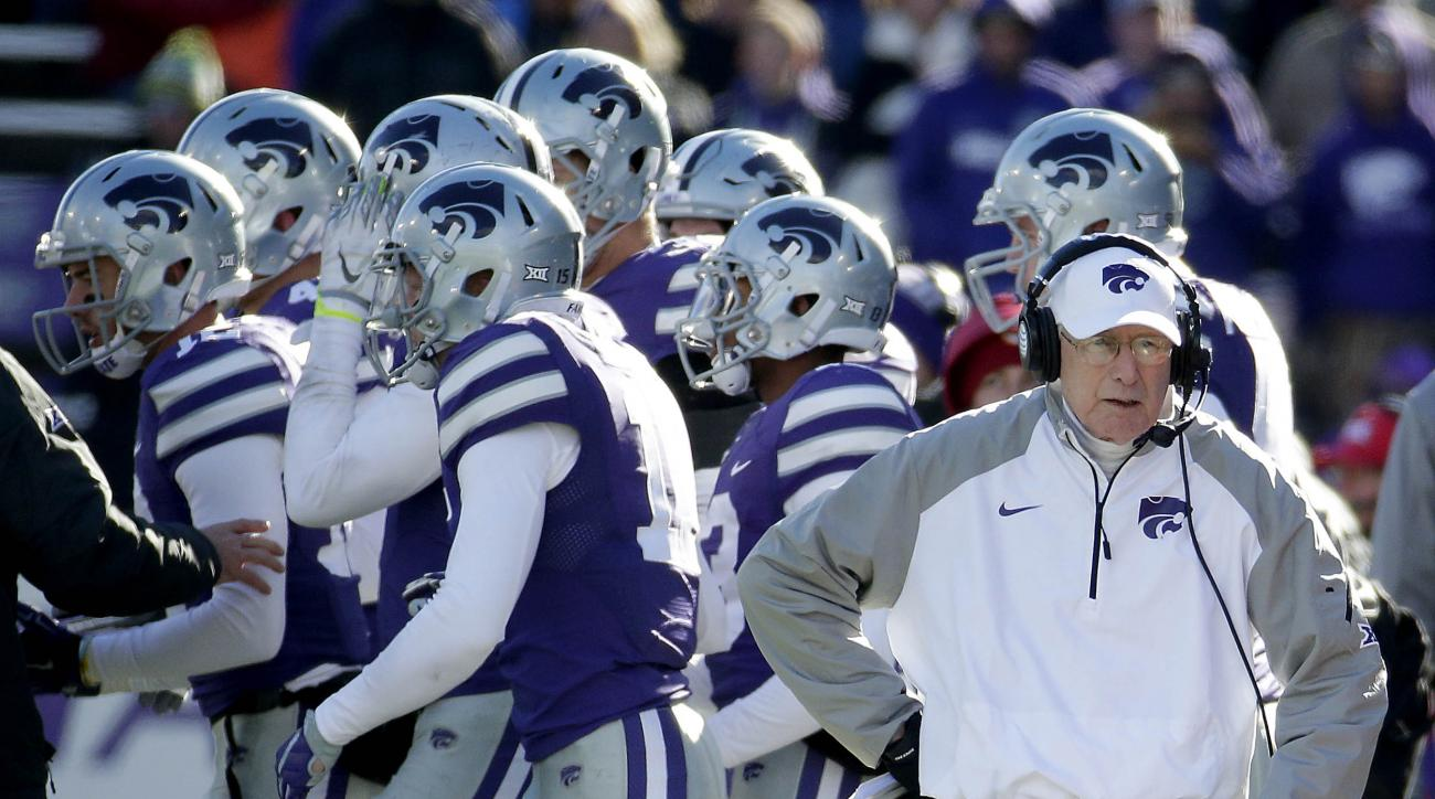 FILE - In this Saturday, Nov. 21, 2015 file photo, Kansas State head coach Bill Snyder watches during the second half of an NCAA college football game against Iowa State in Manhattan, Kan. Kansas State coach Bill Snyder would rather not match up against a
