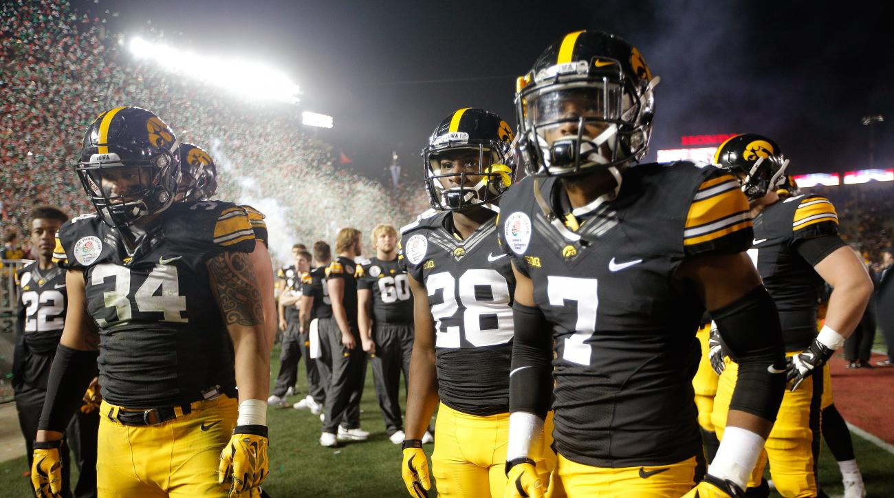 Members of the Iowa team walk off the field after their loss against Stanford during the Rose Bowl NCAA college football game, Friday, Jan. 1, 2016, in Pasadena, Calif. (AP Photo/Jae C. Hong)