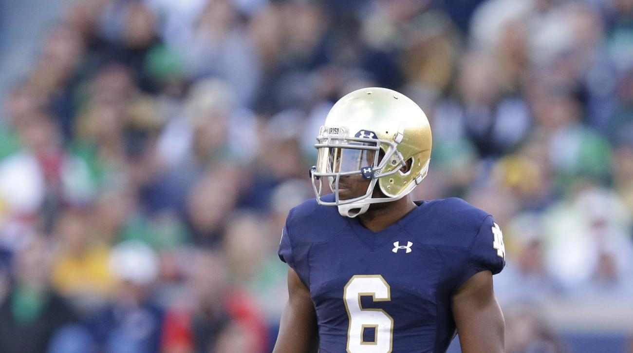 Notre Dame cornerback KeiVarae Russell (6) during the second half of an NCAA college football game against Georgia Tech  in South Bend, Ind., Saturday, Sept. 19, 2015. Notre Dame defeated Georgia Tech  30-22. (AP Photo/Michael Conroy)