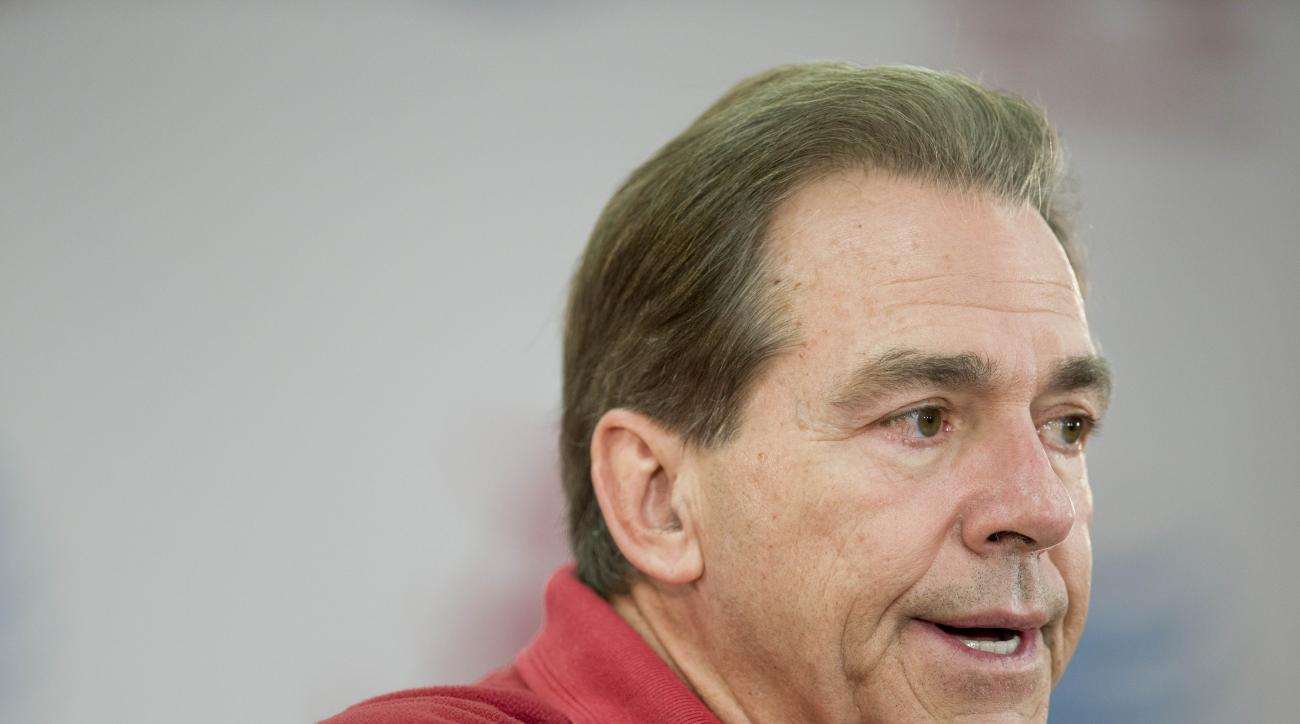 Alabama head coach Nick Saban speaks to the media during a news conference, Wednesday, Jan. 6, 2016, in Tuscaloosa, Ala. (AP Photo/Brynn Anderson)