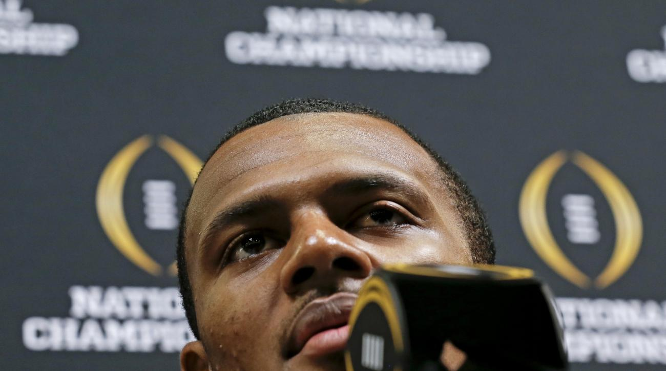 Clemson quarterback Deshaun Watson talks during media day for the NCAA College Football Playoff National Championship in Phoenix, Saturday, Jan. 9, 2016. Clemson will face Alabama in Monday's game. (AP Photo/David J. Phillip)