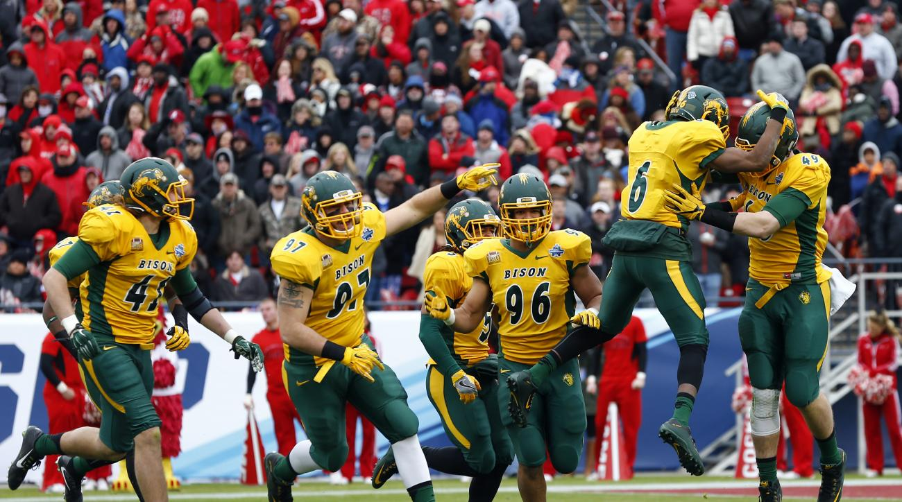 North Dakota State players reacts after an interception against Jacksonville State during the first half of the FCS championship NCAA college football game, Saturday, Jan. 9, 2016, in Frisco, Texas.  (AP Photo/Mike Stone)