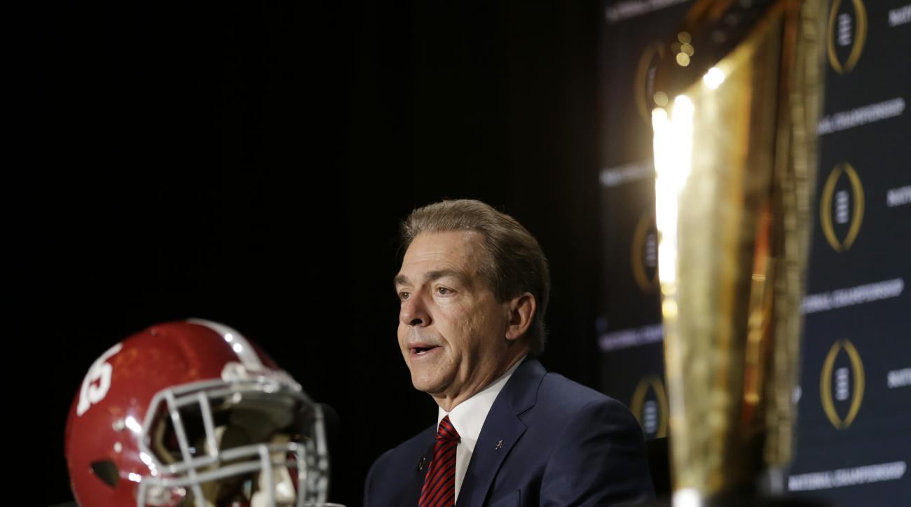 Alabama head coach Nick Saban speaks during a news conference for the NCAA college football playoff championship game Sunday, Jan. 10, 2016, in Glendale, Ariz. (AP Photo/Chris Carlson)