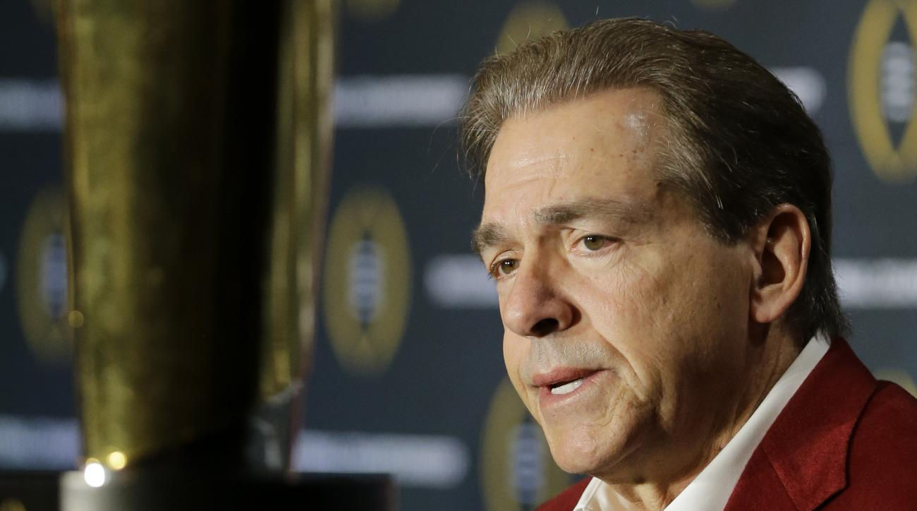 Alabama head coach Nick Saban speaks during a news conference for the NCAA college football playoff championship Tuesday, Jan. 12, 2016, in Scottsdale, Ariz. Alabama beat Clemson 45-40 to win the championship. (AP Photo/David J. Phillip)