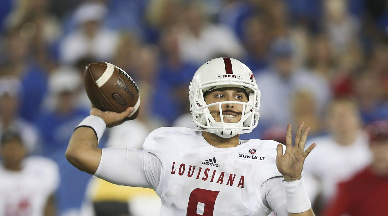 Louisiana-Lafayette quarterback Brooks Haack throws to a receiver in the second half against Kentucky in an NCAA college football game in Lexington, Ky., Saturday, Sept. 5, 2015. Kentucky won the game, 40-33. (AP Photo/David Stephenson)