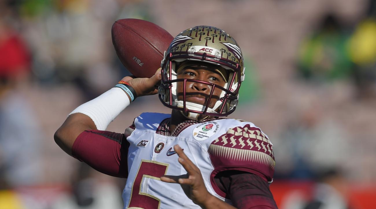 In this Jan. 1, 2015 file photo, Florida State quarterback Jameis Winston passes against Oregon during the first half of the Rose Bowl NCAA college football playoff semifinal, in Pasadena, Calif. Winston declared himself eligible for the NFL draft Wednesd