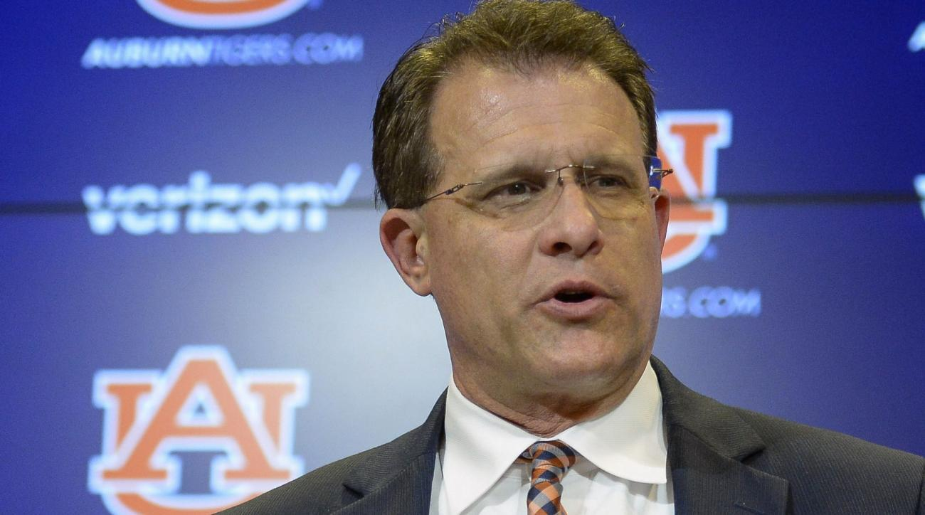 Auburn head football coach Gus Malzahn talks about his about new players on National Signing Day Wednesday, Feb. 3, 2016, at the Auburn Athletic Complex in Auburn, Ala. (Julie Bennett /AL.com via AP) MAGS OUT; MANDATORY CREDIT