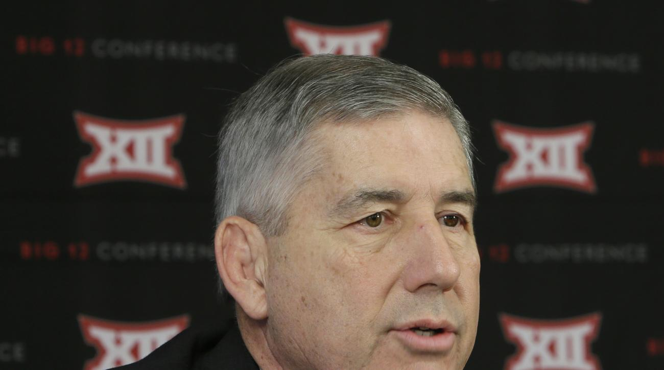 Big 12 commissioner Bob Bowlsby speaks to reporters after the first day of the conference's meeting Thursday, Feb. 4, 2016, in Irving, Texas. (AP Photo/LM Otero)