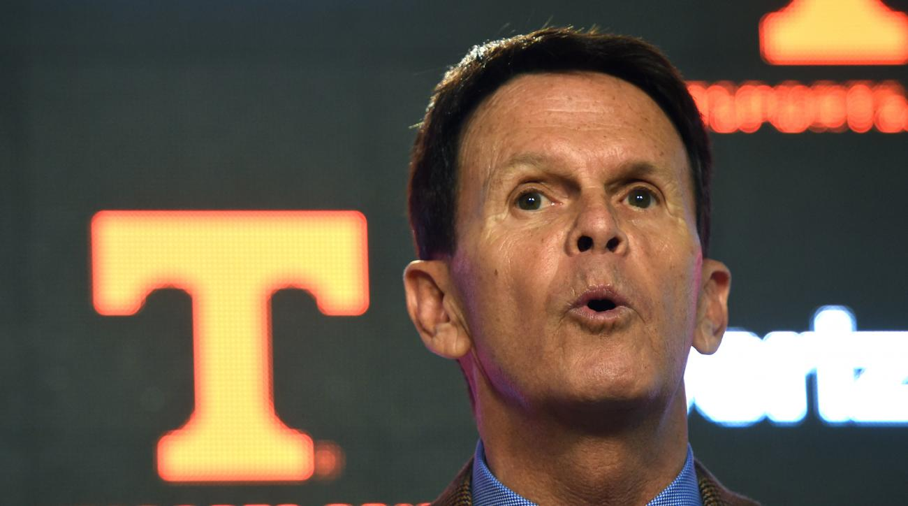 Tennessee athletic director Dave Hart speaks during a press conference at University of Tennessee's Ray & Lucy Hand Digital Studio in Knoxville, Tenn., on Thursday, Feb. 25, 2016. Hart stood by his embattled football coach during the news conference Thurs