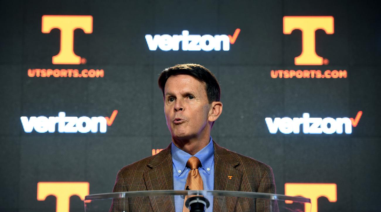 Tennessee athletic director Dave Hart answers questions during a press conference at University of Tennessee's Ray & Lucy Hand Digital Studio in Knoxville, Tenn., on Thursday, Feb. 25, 2016. Hart stood by his embattled football coach during the news confe