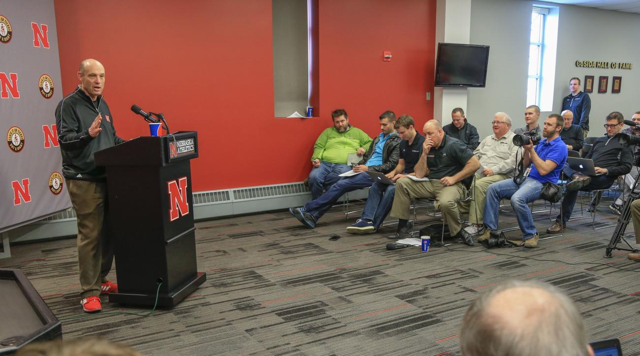 Nebraska head coach Mike Riley talks about spring football before introducing new defensive line coach John Parrella, unseen, at a news conference in Lincoln, Neb., Wednesday, March 2, 2016. Parrella, a former Nebraska defensive tackle under Tom Osborne,