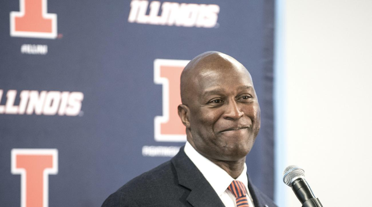 Lovie Smith talks to the media at a press conference to introduce Smith as the 25th head coach of he University of Illinois football team at the Bielfeldt Administration Building , in Champaign, Ill., on Monday March 7, 2016.  (John Dixon/The News-Gazette