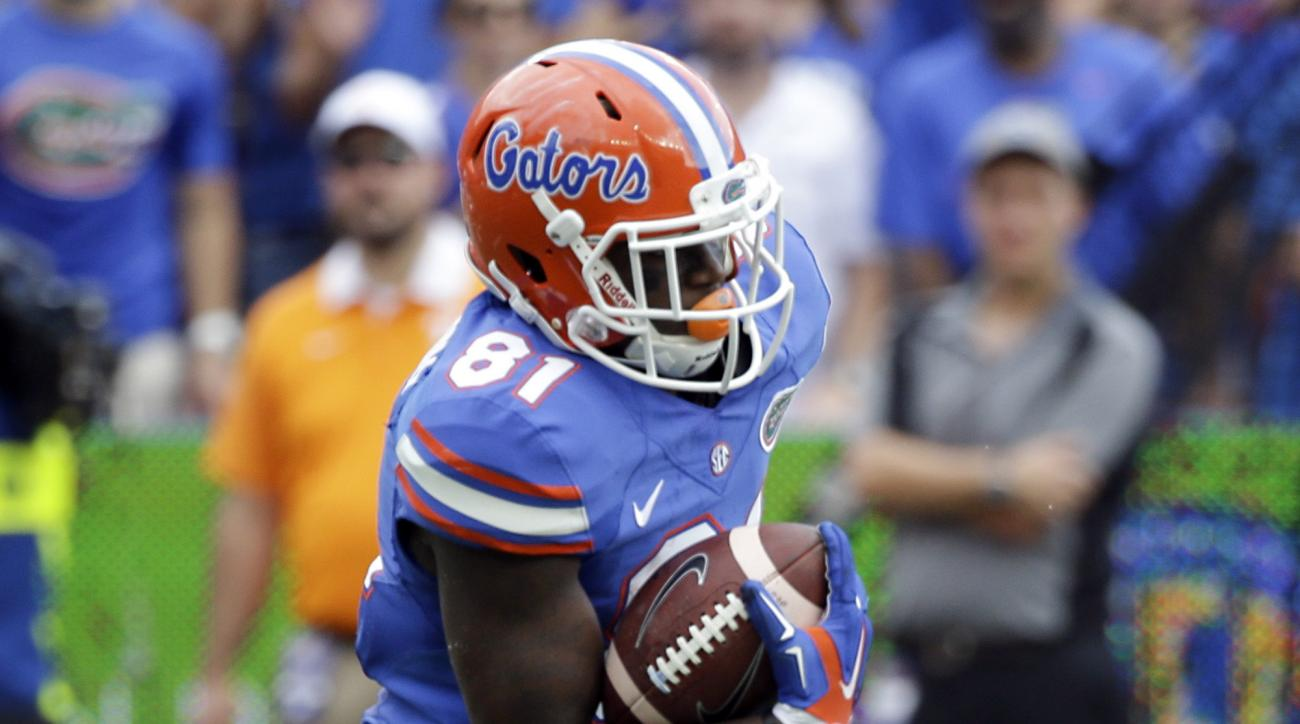 FILE - In this Sept. 26, 2015, file photo, Florida wide receiver Antonio Callaway runs against Tennessee during the first half of an NCAA college football game in Gainesville, Fla. The attorney for suspended Callaway says his client was suspended for viol