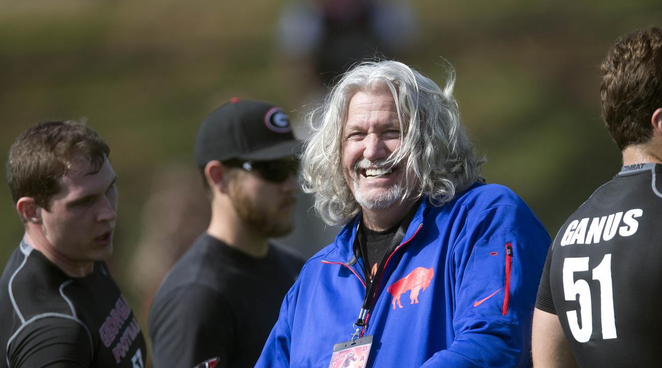 Buffalo Bills NFL football assistant coach Rob Ryan is shown during Georgia's Pro Day Wednesday, March 16, 2016, in Athens, Ga. (AP Photo/John Bazemore)