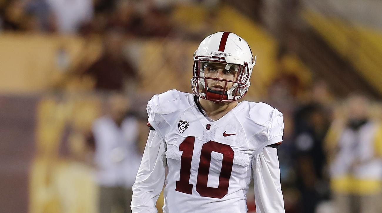 Stanford safety Zach Hoffpauir (10) during the second half of the NCAA college football game, Saturday, Oct. 18, 2014, in Tempe, Ariz. (AP Photo/Rick Scuteri)