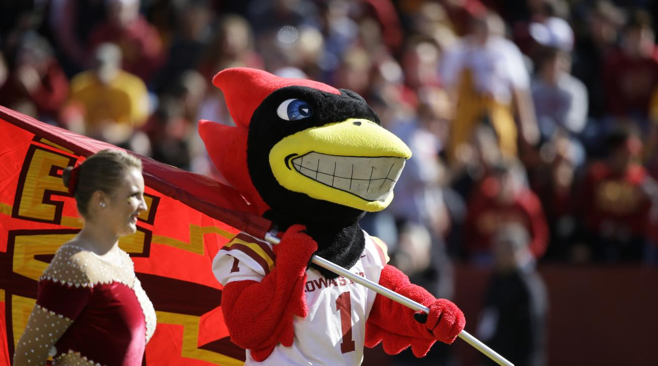 Iowa State mascot Cy runs on the field before an NCAA college football game against Kansas, Saturday, Oct. 3, 2015, in Ames, Iowa. (AP Photo/Charlie Neibergall)