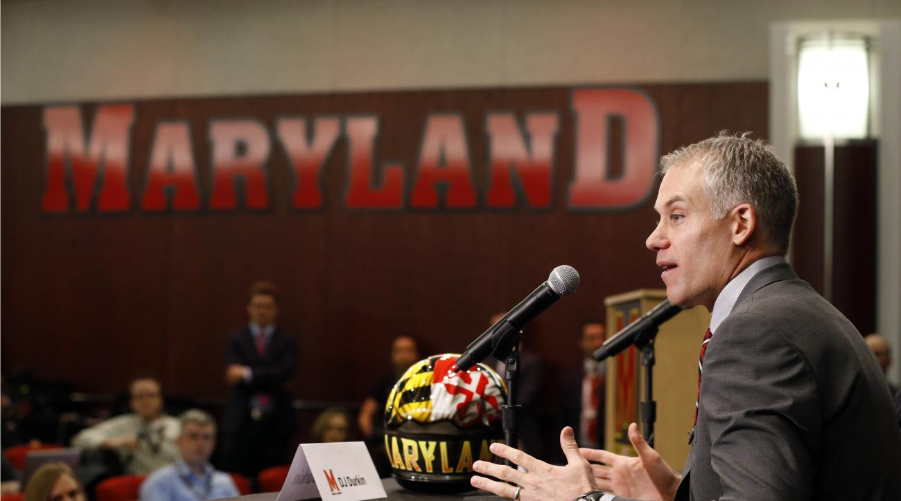 D.J. Durkin speaks at a news conference after being introduced as the new head football coach at the University of Maryland, Thursday, Dec. 3, 2015, in College Park, Md. Durkin comes from the University of Michigan, where he was the defensive coordinator