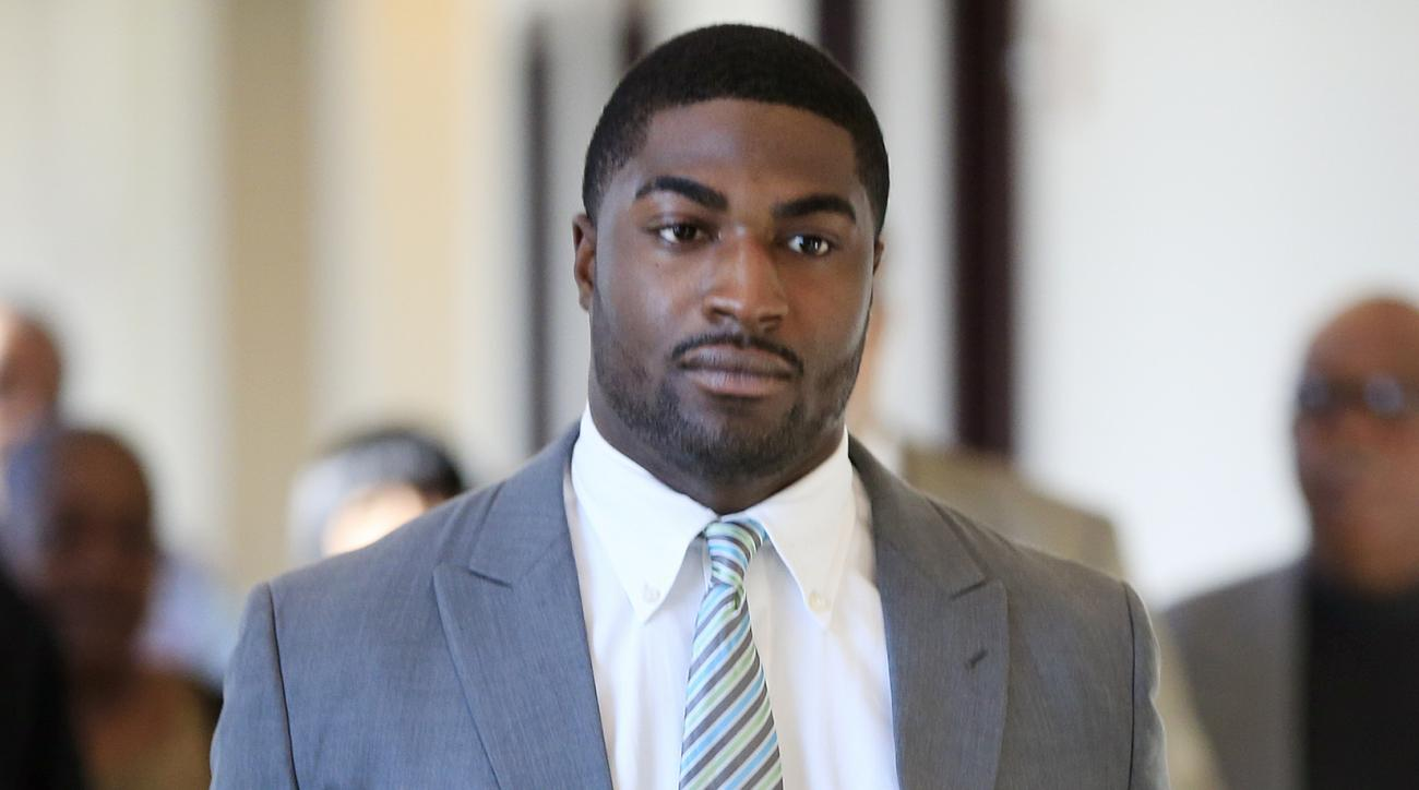 FILE - In this Nov. 3, 2014, file photo, former Vanderbilt football player Cory Batey arrives for jury selection in his rape trial  in Nashville, Tenn. Criminal Court Judge Monte Watkins granted a mistrial in the case of two former Vanderbilt football pla