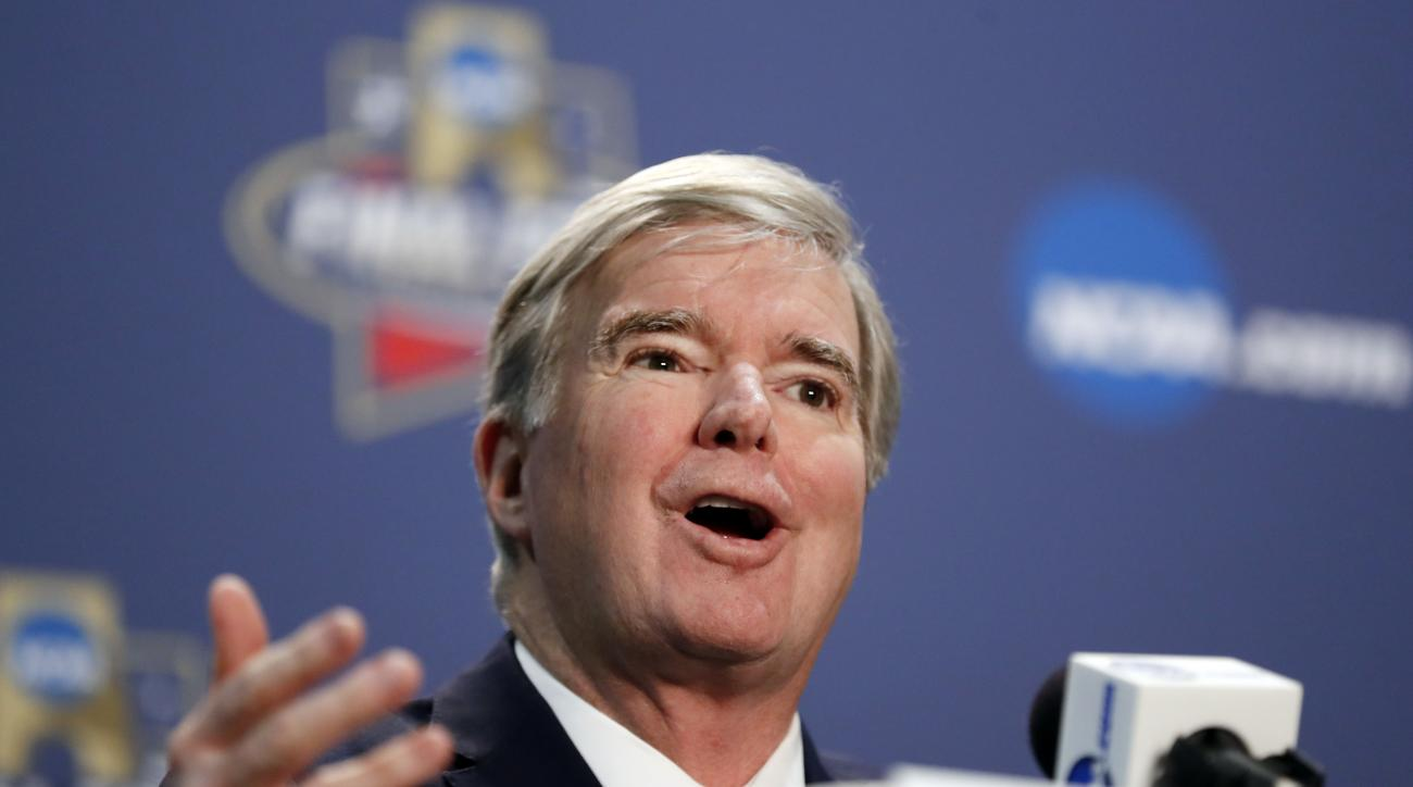 NCAA President Mark Emmert answers questions at a news conference for the NCAA Final Four college basketball tournament Thursday, March 31, 2016, in Houston. (AP Photo/David J. Phillip)
