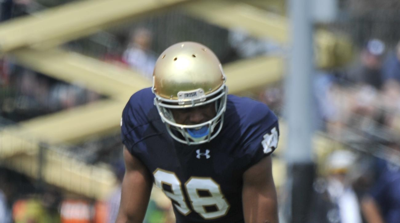 Notre Dame wide receiver Corey Robinson (88) lines up during the Blue Gold game Saturday April 18, 2015 in South Bend, Ind. (AP Photo/Joe Raymond)