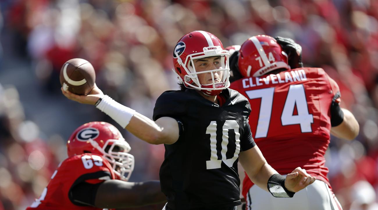 Georgia quarterback Jacob Eason throws during the first half of their spring intra-squad NCAA college football game Saturday, April 16, 2016, in Athens, Ga. (AP Photo/John Bazemore)
